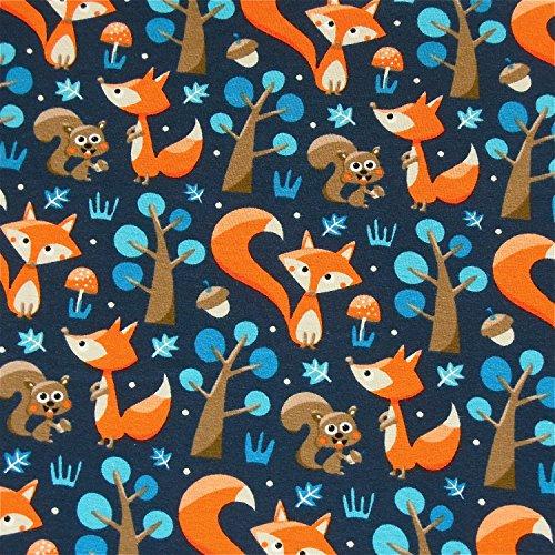 0,5m Jersey Füchse dunkelblau 5% Elasthan 95% Baumwolle Meterware 140cm breit