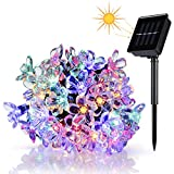 Wedna Solar Powered 23ft 50 LED Peach Blossom String Lights Gardens, Lawn, Patio, Christmas Trees, Weddings, Parties Decorations(Multi-color)