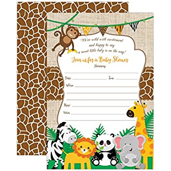 Amazon Safari Jungle Zoo Animals Party Invitations For Kids
