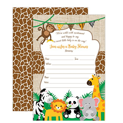 Jungle Safari Baby Shower Invitations, Safari Animal Invitation, 20 Fill in Invitations and Envelopes, Boy or Neutral Baby Shower Party, Monkey, Lion, Elephant, Giraffe