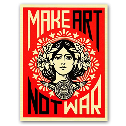 Make Art Not War Shepard Fairey Decorative Print Wall Poster Custom