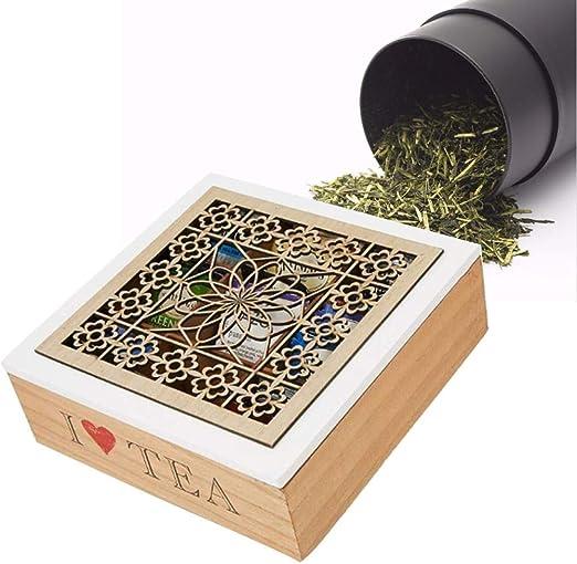 popchilli - Caja de Madera Natural con 9 Compartimentos, para Guardar té, bolsitas de té Elegantes con Tapa, Caja de Madera, Caja Cuadrada para té, Caja para Bolsas de té (238 cm):