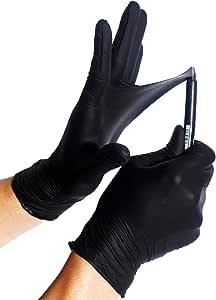 100x Guantes De Nitrilo - Tarea Pesada Guantes Desechables Sin Látex y Polvo AQL 1.5 Trabajo Pesado Mecánico Químico Industria Lavado Conserje Limpieza (Negro, M (7-8)): Amazon.es: Salud y cuidado personal