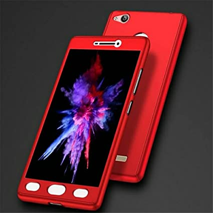 best service c8ebe 5305d DEZIINE Redmi 3s Full Body 3-in-1 Slim Fit Full 3D Protection Hybrid Hard  Bumper 360 Degree Back Mobile Case Cover with Tempered Glass. (Red)