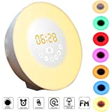 Wake-Up Light, GLIME Sveglia Luce 7 LED Colori Modalità Snooze con Sunrise/Sunset Sveglia Radio FM USB ricaricabile Controlli Touch Luce Notturna Allarme Multifunzione Luce