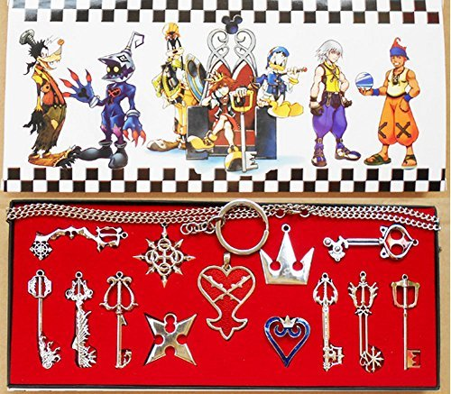 Keyblade Set - Kingdom Keys Hearts Keyblade Pendant Necklace Set Cosplay Accessories 13pcs Silver