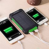 YOUNGFLY Dual 20000mAh Solar Charger Sunpower Panel Power Bank Waterproof, Dust-Proof and Shock-Resistant Led Light, With Compass + USB Cable + Hook (Green)