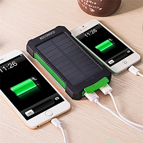 YOUNGFLY Dual 20000mAh Solar Charger Sunpower Panel Power Bank Waterproof, Dust-Proof and Shock-Resistant Led Light, With Compass + USB Cable + Hook (Green) by YOUNGFLY
