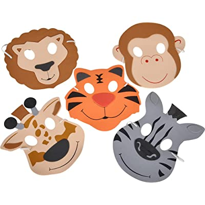 "7.5"" FOAM ZOO ANIMAL MASKS: Toys & Games"