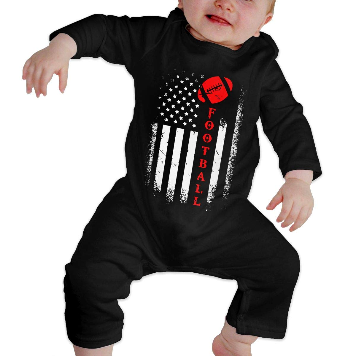 Mri-le1 Baby Boy Jumpsuit American Flag USA Football Baby Clothes