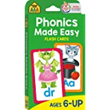 School Zone - Phonics Made Easy Flash Cards - Ages 6 and Up, Preschool to 2nd Grade, Short Vowels, Long Vowels, Word-Picture