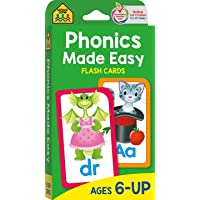 School Zone - Phonics Made Easy Flash Cards - Ages 6 and Up, Preschool to 2nd Grade, Short Vowels, Long Vowels, Word…