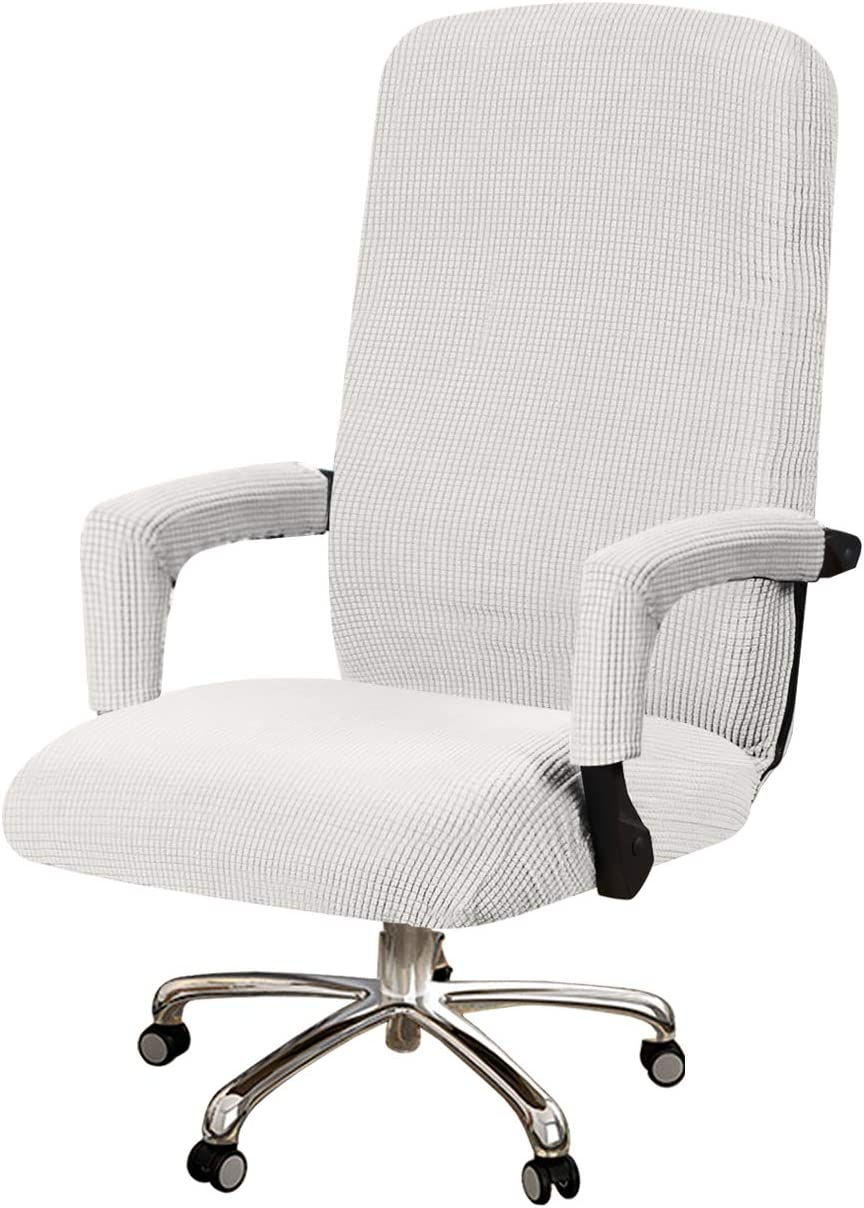 Turquoize Office Chair Cover Stretchable Rotating Computer Office Chair Cover High Back Office Chair Slipcover White Removable Office Swivel Chair Cover, Machine Washable, Medium, Off White