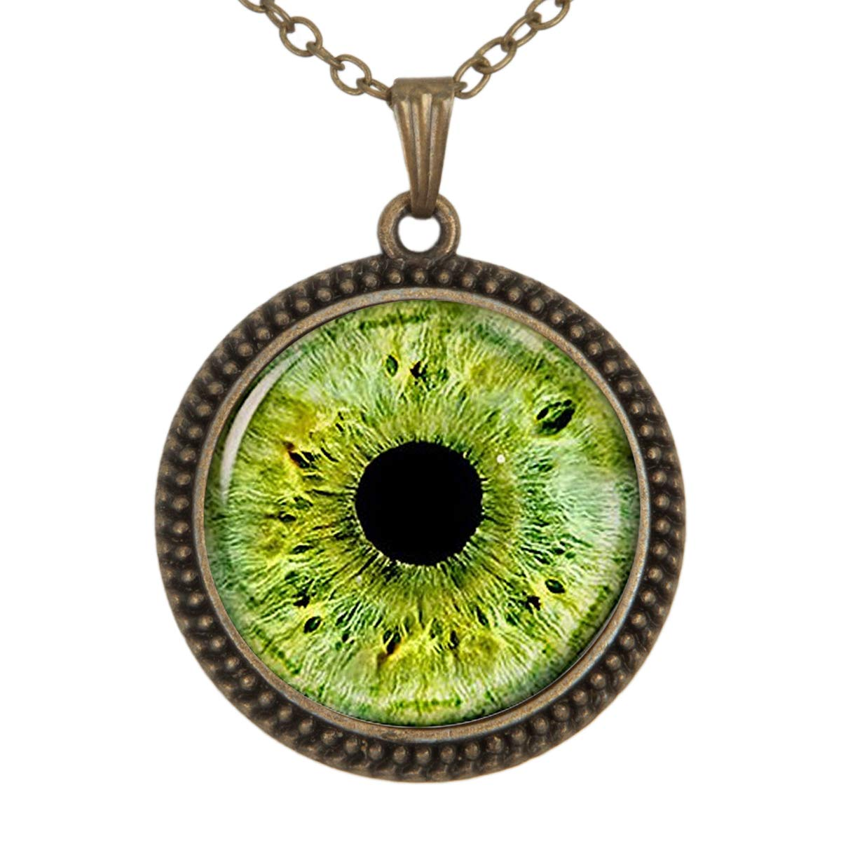 Lightrain Green Eyes Pendant Necklace Vintage Bronze Chain Statement Necklace Handmade Jewelry Gifts