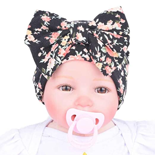 cf3ff96ae12 Mikey Store Newborn Baby Hospital Hat With Flower Bowknot Flower (Black)