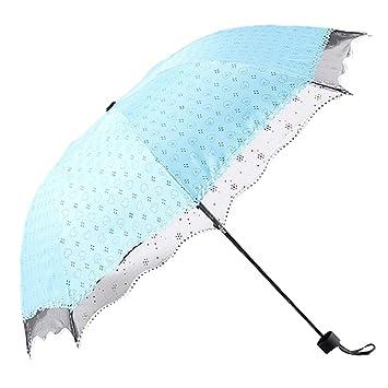 Paraguas Viaje cortavientos sostenibilidad fuerte Compact xagoo® Paraguas sólido protección contra UV sombrilla multicolor azul