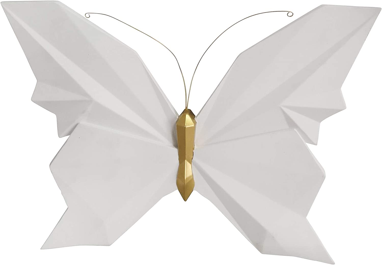 Sagebrook Home Resin Origami Butterfly Wall Decor 15 Inch, Medium, White
