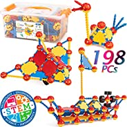 cossy STEM Learning Toy Engineering Construction Building Blocks 198 Pieces Kids Educational Toy for Boys and