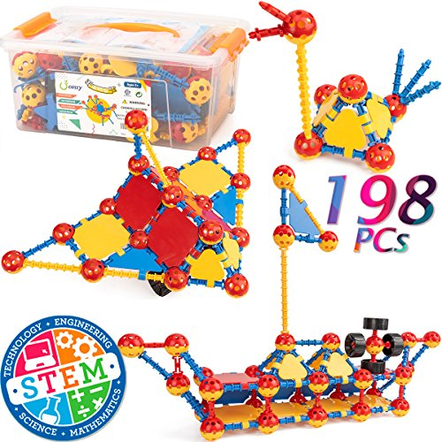 cossy STEM Learning Toy Engineering Construction Building Blocks 198 Pieces Kids Educational Toy for Boys and Girls Ages 3 4 5 6 7 8 9 Year Old (198 Pcs)]()