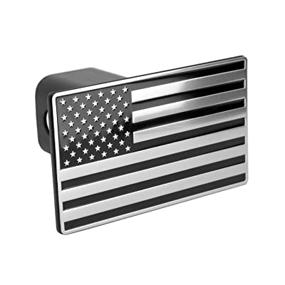 "eVerHITCH US American Black & Chrome Flag Emblem Trailer Metal Hitch Cover Fits 2"" Receivers: Automotive"