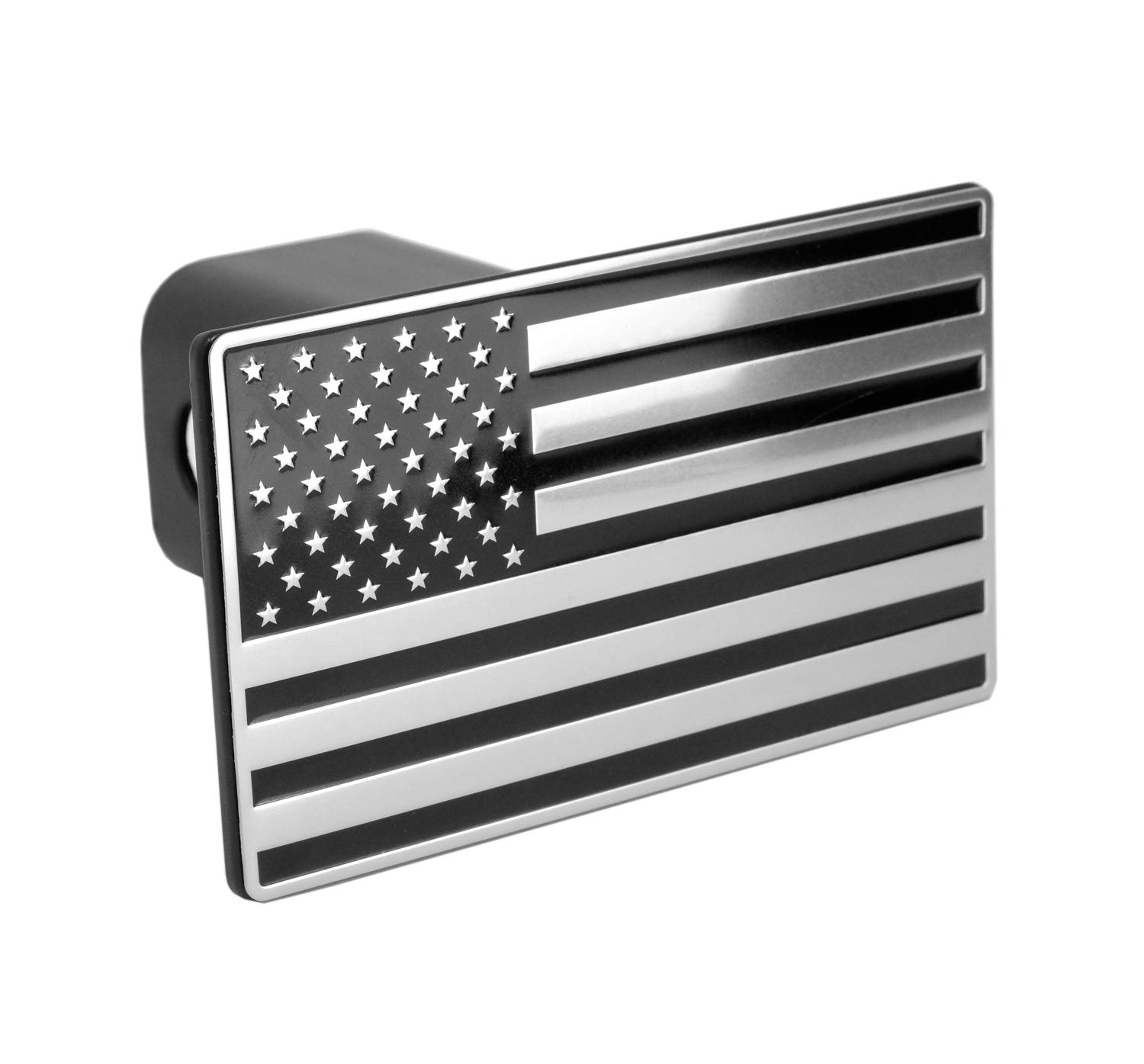 Fits 2 Receivers, Black LFPartS USA US American Flag Emblem Metal Trailer Hitch Cover