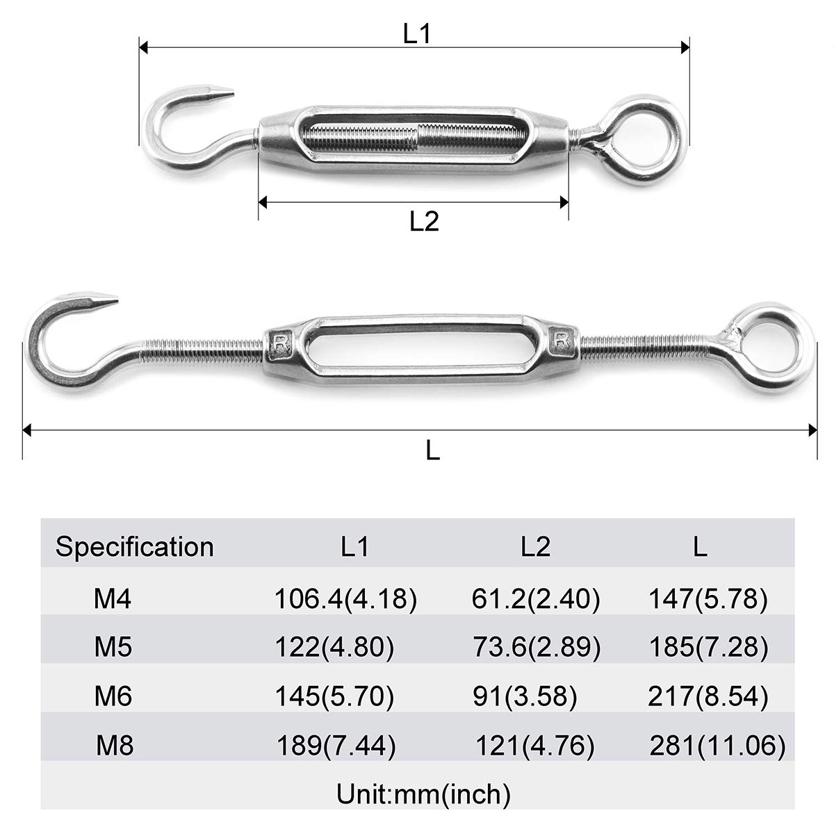 Lind Kitchen 2PCS M8 Hook /& Eye Turnbuckle Stainless Steel Rigging Tightener Hardware Fittings Wire Rope Tensioner CO
