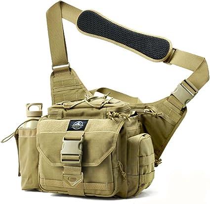 Tactical Messenger Bag EDC Sling Pack Fishing Tackle One Shoulder Multi Fu Black