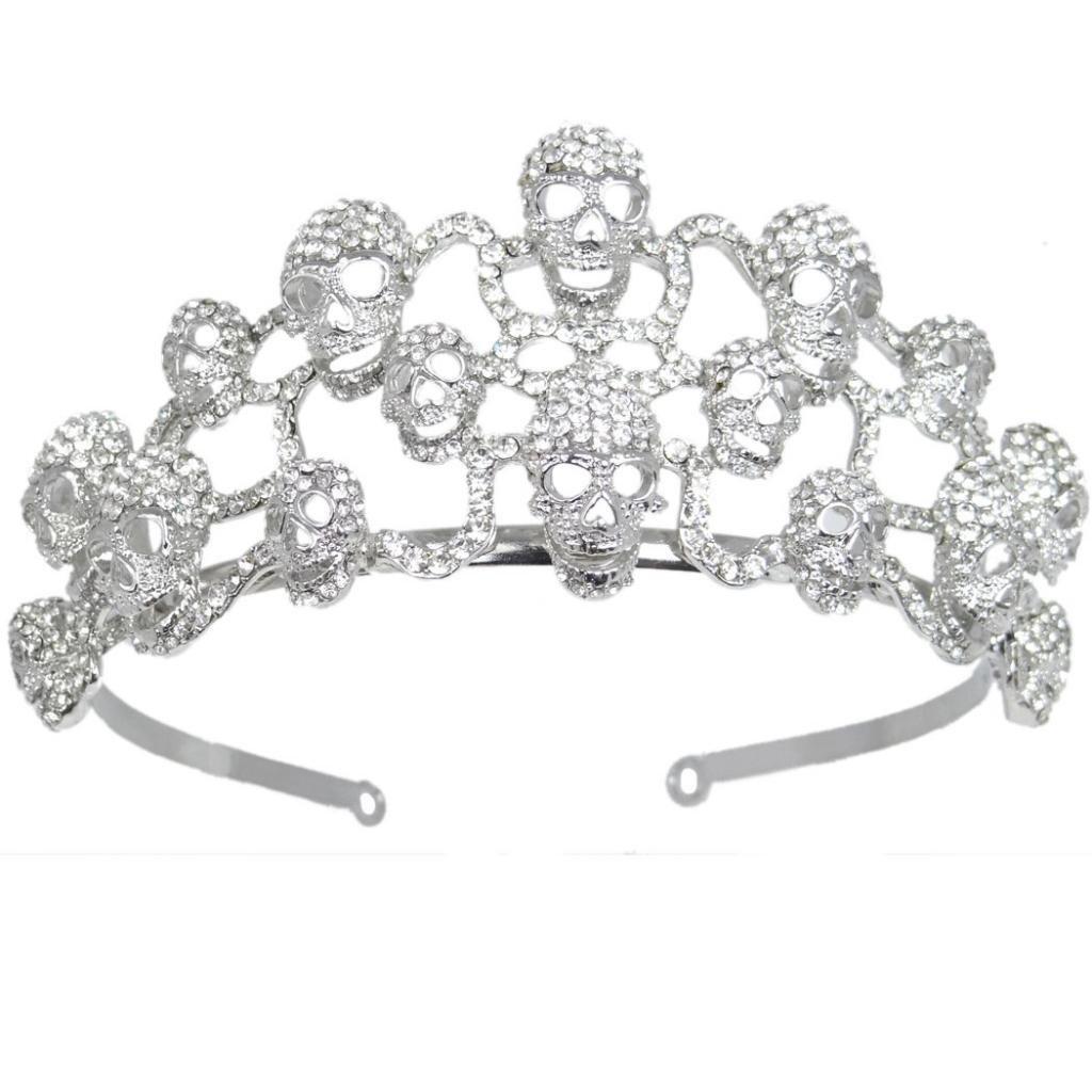 EVER FAITH Halloween Skull Hair Band Tiara Clear Austrian Crystal Silver-Tone