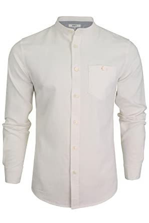 e11b354bbaac1c Xact Long Sleeved Linen Grandad Shirt: Amazon.co.uk: Clothing