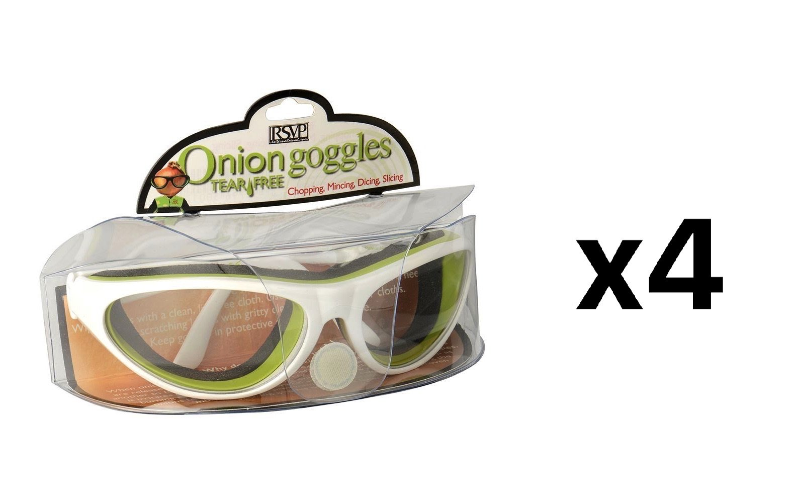 RSVP Onion Goggles w/Case Tear Free Anti Fog Cutting Grilling WHITE (4-Pack)