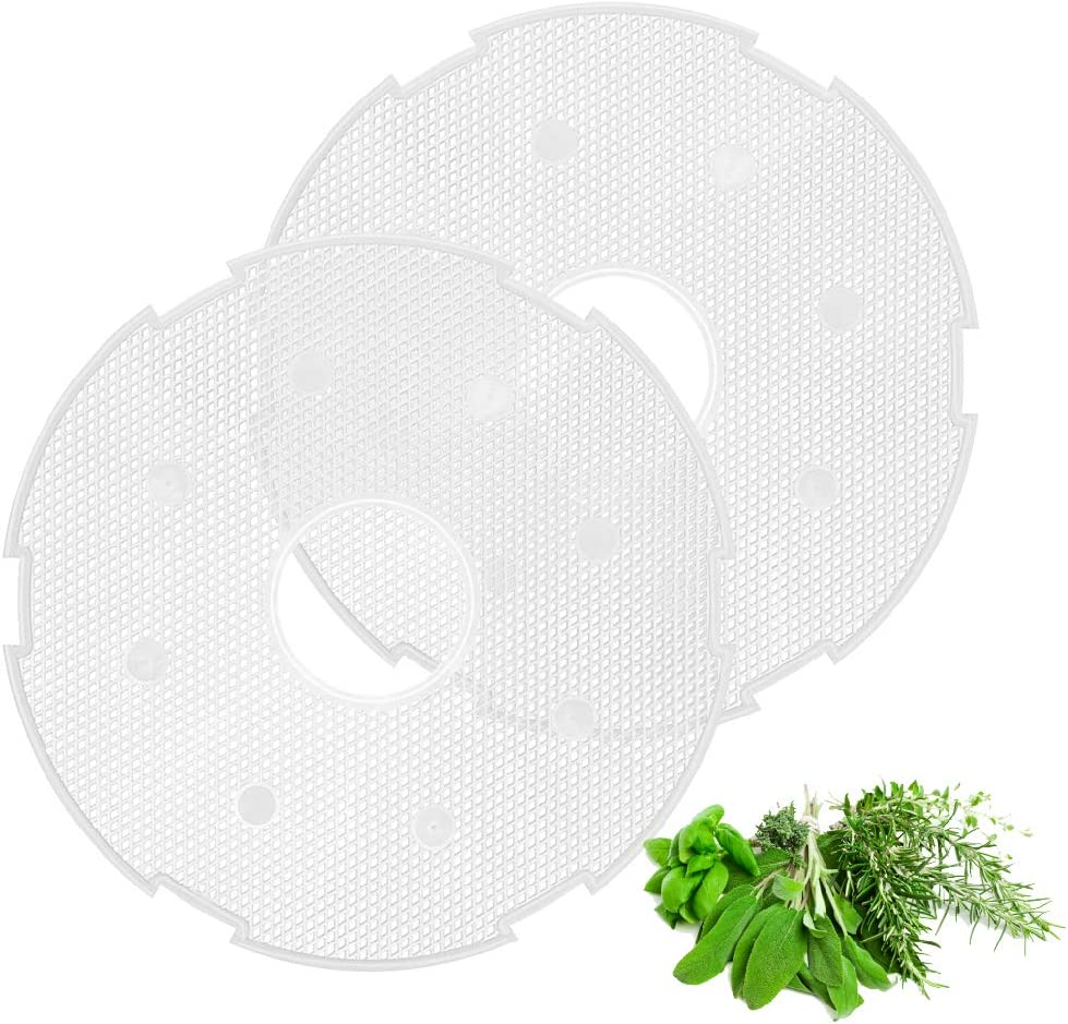 Flexzion Round Mesh Screen for Electric Food Dehydrator Machine (12 inch) 2 Pack Nonstick Reusable Tray Liners Sheets for Clean Reusable Dehydrating Accessories Fruit/Meat/Beef Jerky/Herbs/Fish