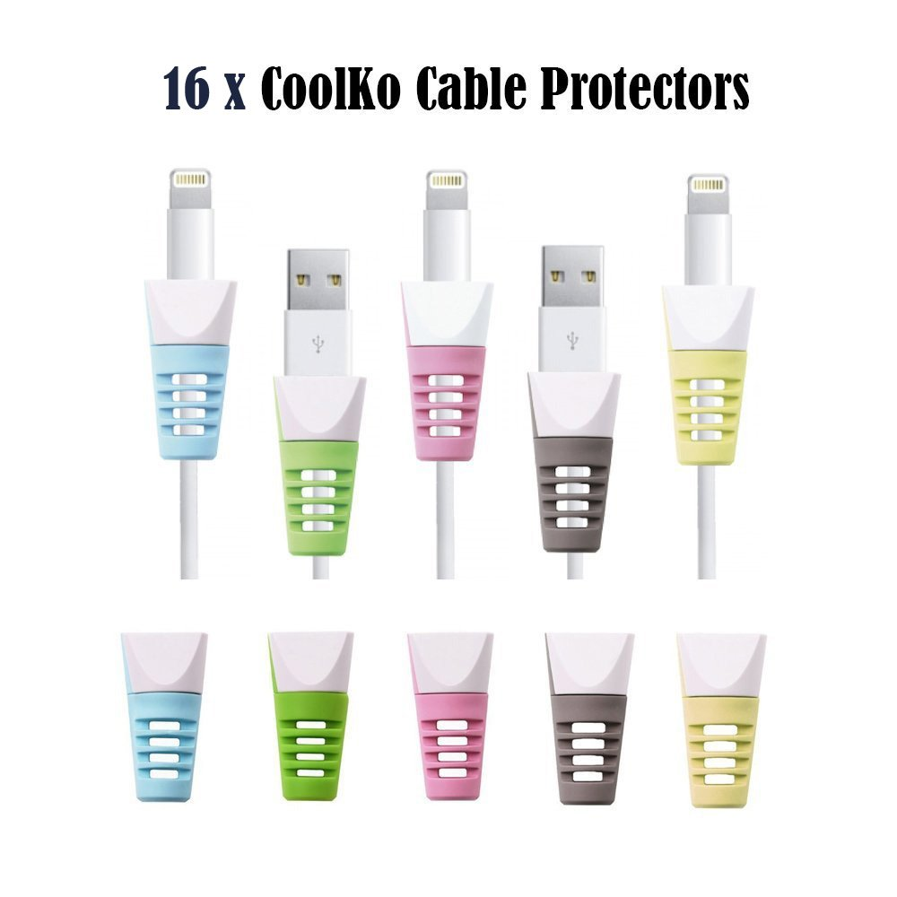 Newest 16x CoolKo Universal Cable Protectors for iPhone X, 8, 7, 6, 5, 4, iPad, iPod, MacBook, all Apple Products, Samsung, LG, HTC, all Android and all Type C Smart Phones Devices