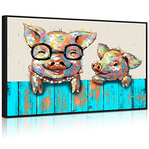 Visual Art Decor Large Animals Canvas Wall Art Lovely Pigs with Glasses Painting Prints Picture for Kid's Room Contemporary Artwork Home Wall Decoration (Black Floater Frame)