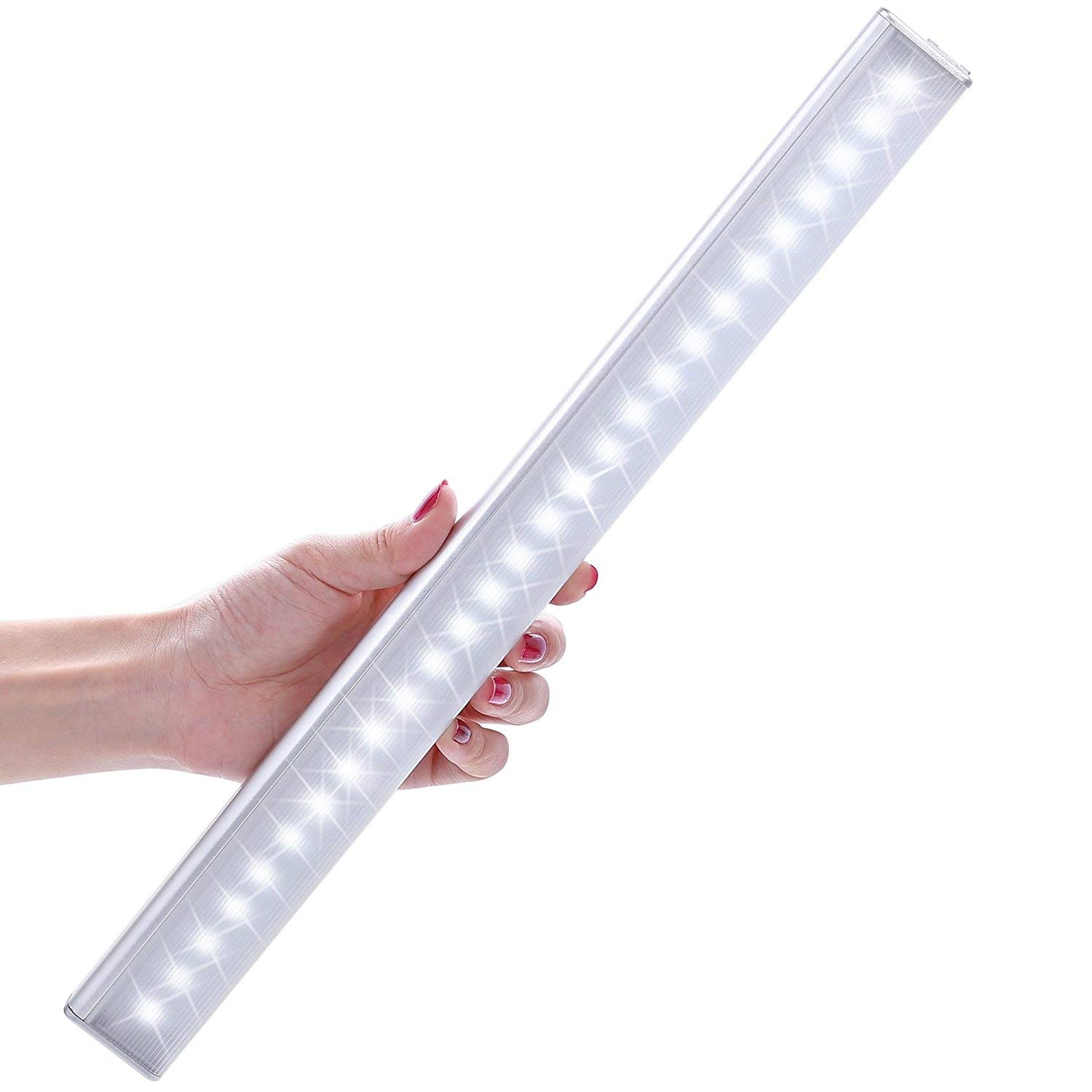 Lofter Motion Sensor Light Rechargeable Stick-on 27 LED Aluminum Motion Activated Night Light for Under Cabinet Closet Cupboard Wardrobe Camping Emergency Lighting with Auto On/Off Switch