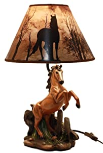 """Ebros Gift Rearing Wild Chestnut Horse Stallion Desktop Table Lamp With Nature Printed Shade Home Decor 19""""Tall"""