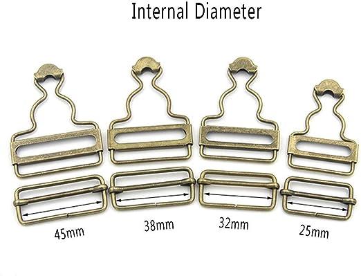 4 Sets L/ätzchen Hose Hosentr/äger insgesamt Schnallen Anpassung Rechteck Schiebeschnalle Metall Button bronze 25 mm