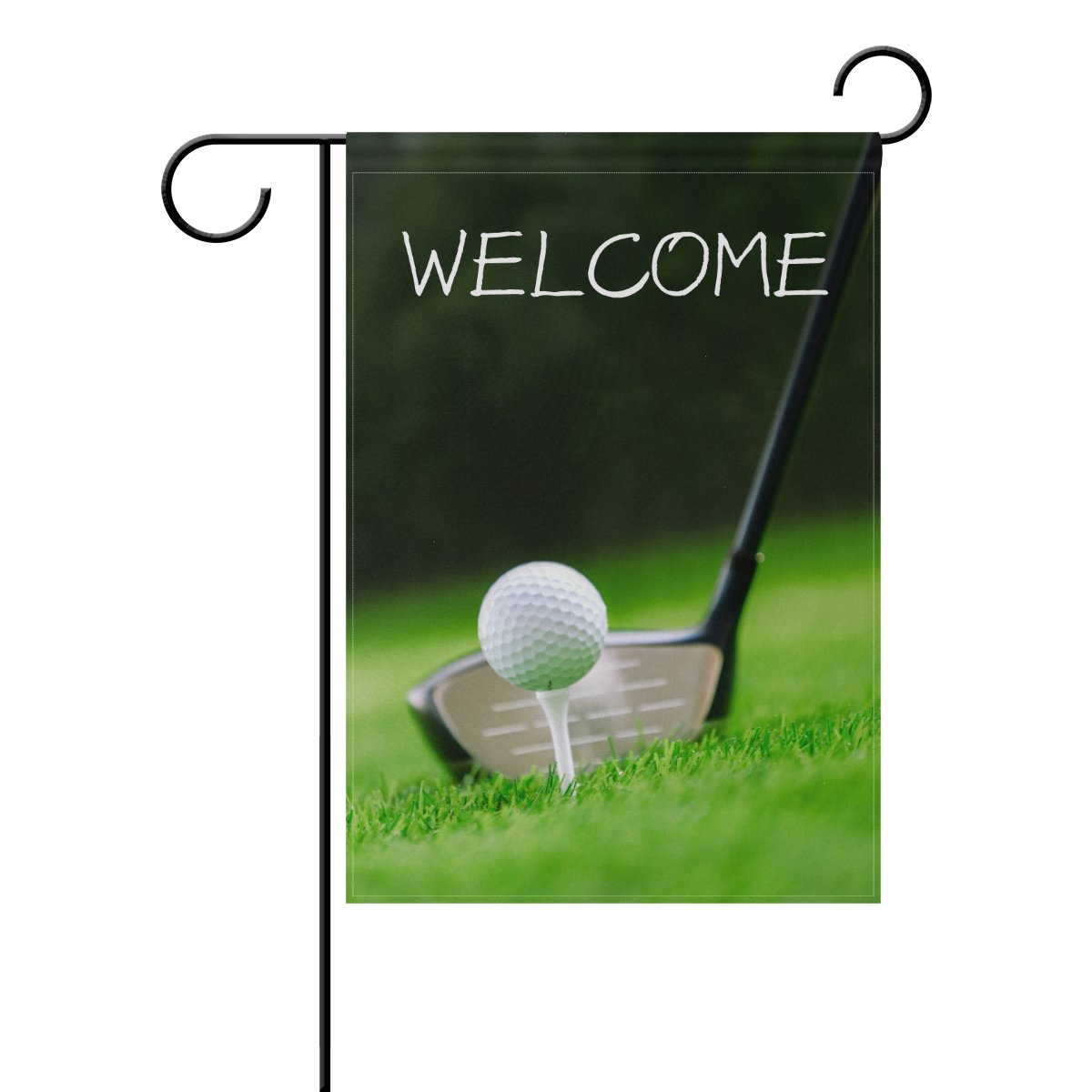 TropicalLife Welcome Golf Club and Sport Ball in Grass Polyester Garden Flag Banner 12 x 18 Inch Double Side Print Home Outdoor Patio Yard Garden Decor Flag