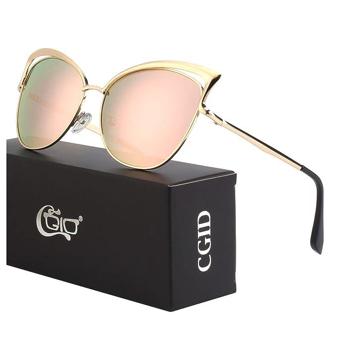CGID MJ23 Ojo De Gato Gafas Gafas de sol para mujer,Dorado Rosa