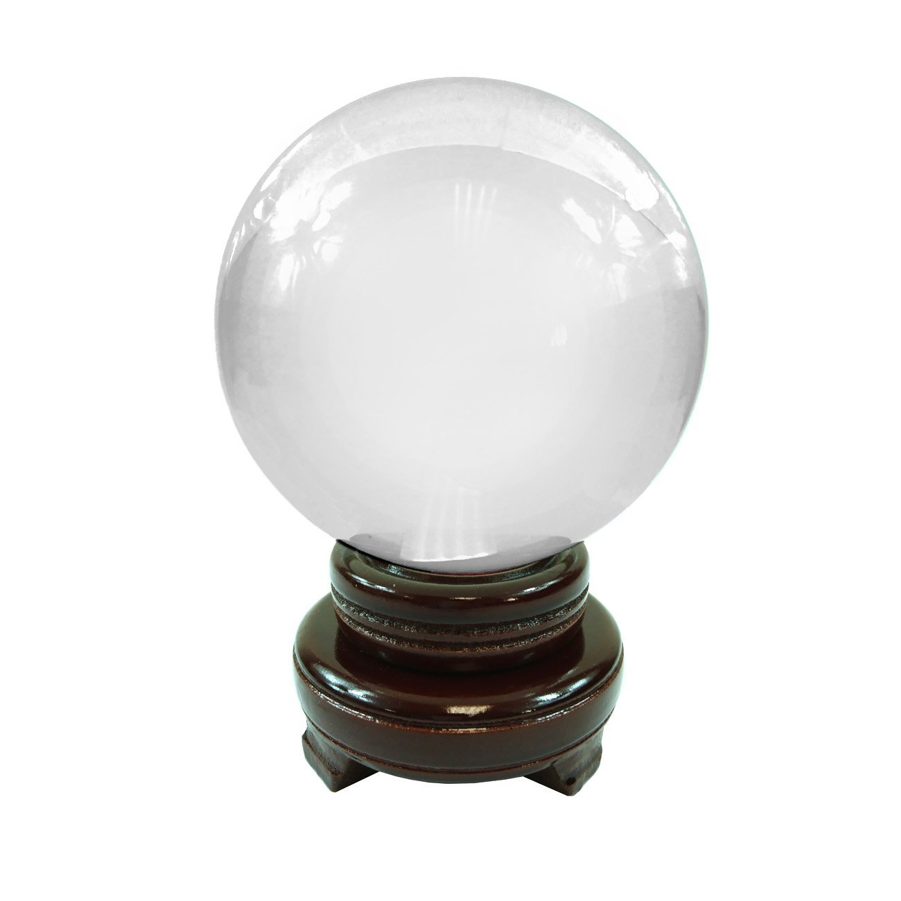 Hongville Feng Shui and Home Decor Solid Clear Glass Crystal Ball Sphere With Wooden Stand (Clear, 60MM)