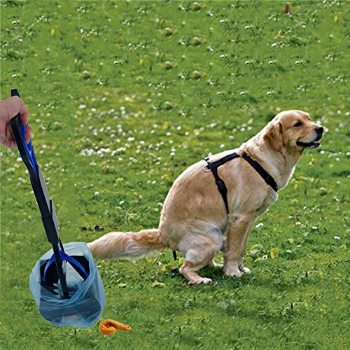 OSPet-Foldable-Long-handle-Pooper-Scooper-for-Dogs-Cats-Pets-with-Anti-Leak-Blue-Bags-Perfect-for-Picking-up-Poo-Shit-Without-Smelling-and-Tuching