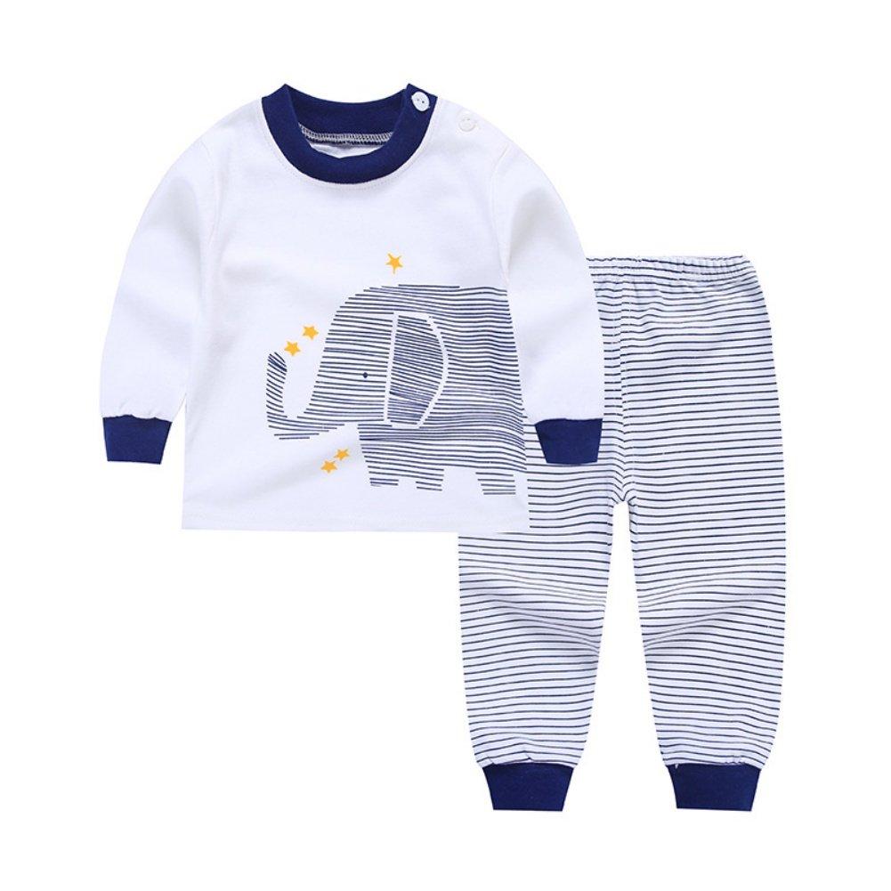 Wongfon Kids Cartoon Long Sleeve Shirt Pants Set Autumn Winter Shoulder Buckle Tops Home Underwear/Pajamas/Sleepsuit for Boys Girls 0-4 Years