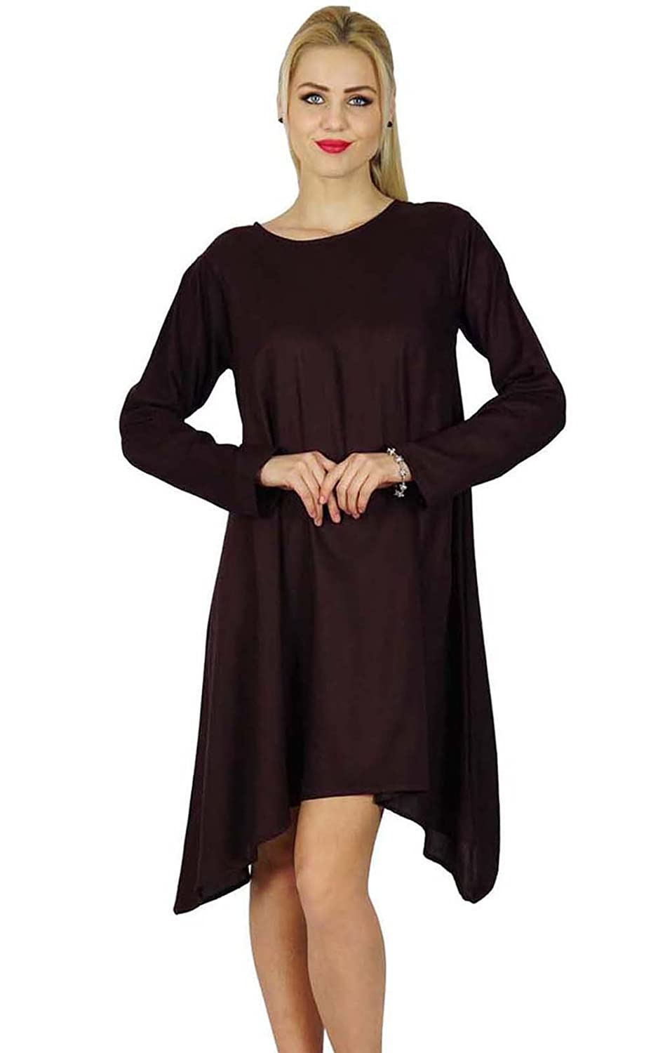 Bimba Women Asymmetrical Poncho Flaired Dress Knee Length Full Sleeve Rayon Dress