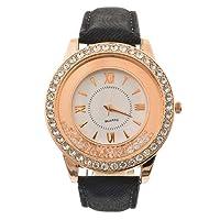 Souarts Artificial Leather Quicksand Rhinestone Quartz Wrist Watch 24cm