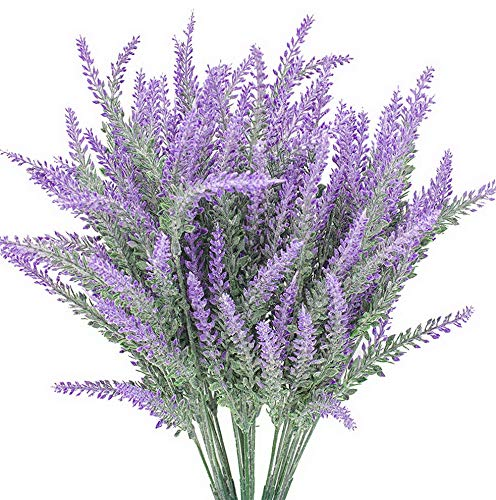 Gatton 6 Bundles Lavender Bouquet in Purple Artificial Plant Arrangement Lifelike Natural Fake Plant to Brighten Up Your Home Decor Party ding Garden Office Patio Decoration | Model WDDNG - ()