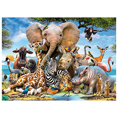 Nasjac DIY 5D Diamond Painting Kits Full Drill Diamond Embroidery Family Together Fun Adult Kids Canvas for Home Wall Decor Cartoon Animal Carnival Rhinestone Cross Stitch Arts Craft 1216 in