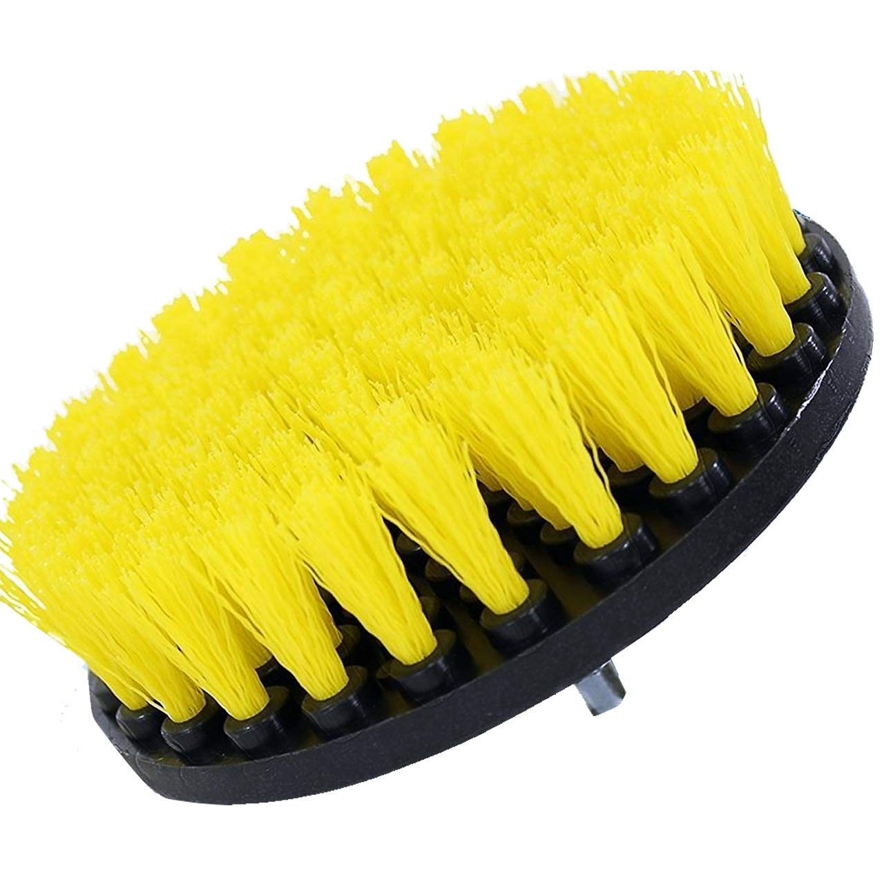 5 Inch Diameter Drill Powered Scrub Brush With Quarter Inch Quick Change Shaft Drillbrush 5in-Lim-Yellow-Short-QC