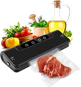 Food Vacuum Sealer, REEXBON Automatic Food Sealer Machine with Starter Bags & Rolls Starter Kit, Multifunction Vacuum Sealing System for Food Savers, Dry & Moist Sealing Mode