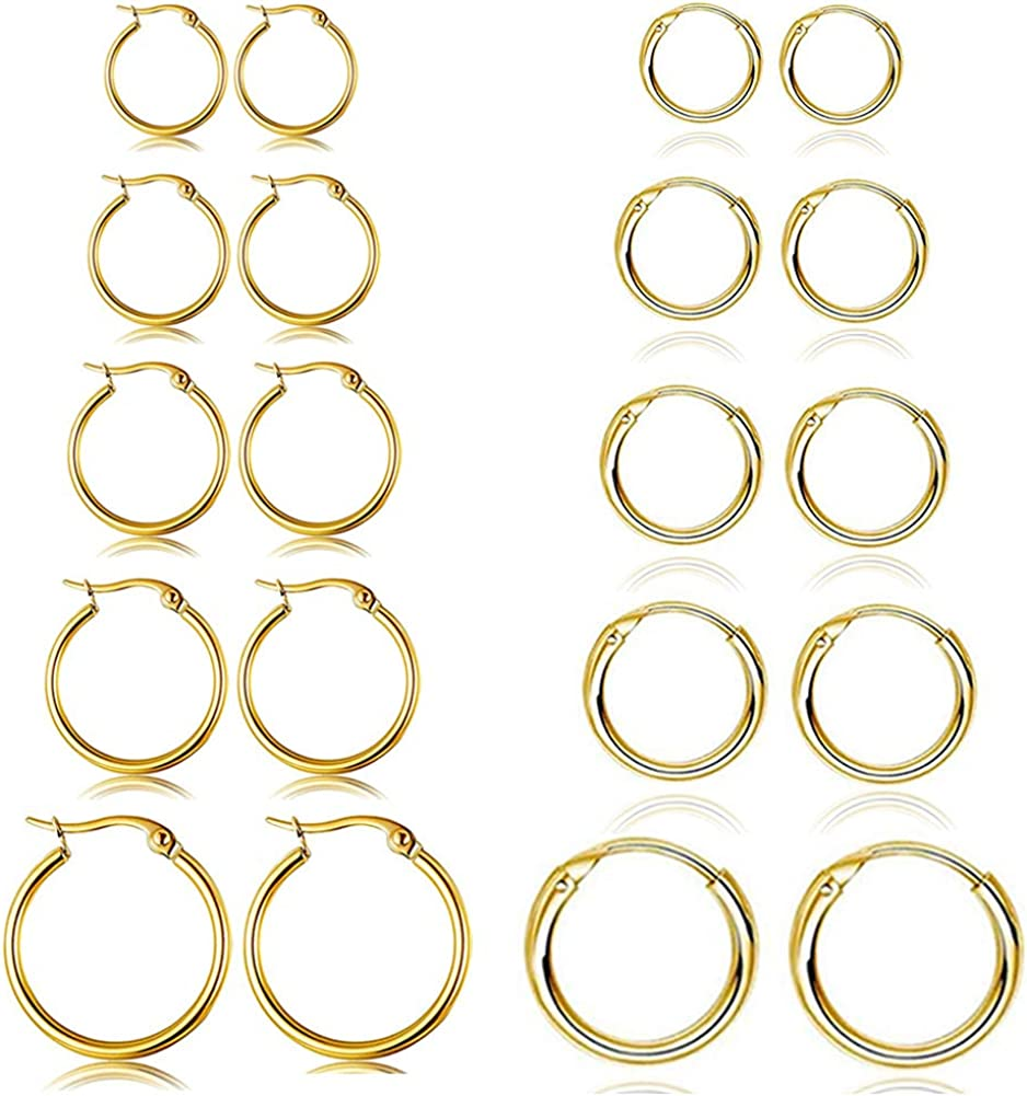 10 Pairs Round Hoop Earring Set for Women Men Girls Lightweight Click-Top Stainless Steel Cartilage Earring Endless Hypoallergenic 10-18MM
