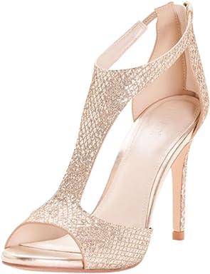 Davids Bridal Glitter Fabric T-Strap Heels Style Saylor