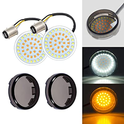 Amazicha 2 Inch LED Turn Signals Light, 1157 Bullet Amber Turn Signal Bulb White Running Light, 2 PCS Smoke Lens Cover Compatible for Harley Davidson Softail Dyna Sportster Touring: Automotive